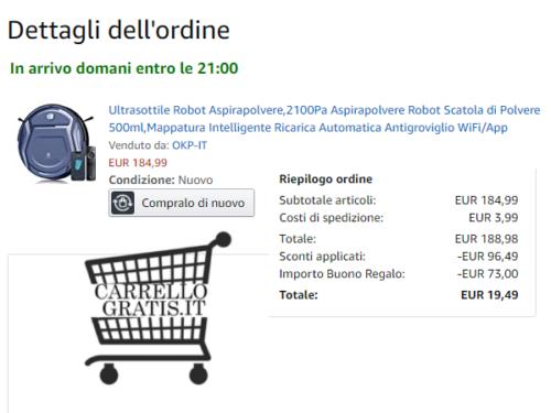 Amazon: Robot Aspirapolvere da €190 a €19,49 – SCOPRI COME