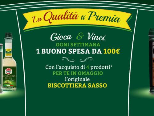 """Olio Sasso """"La qualità ti premia"""" richiedi la biscottiera e vinci 1 Buono Spesa da 100€"""