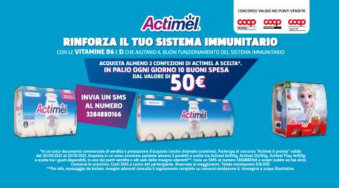 """""""Actimel Ti Premia"""" vinci 1o premi al giorno dei buoni spesa dal valore di 50€"""