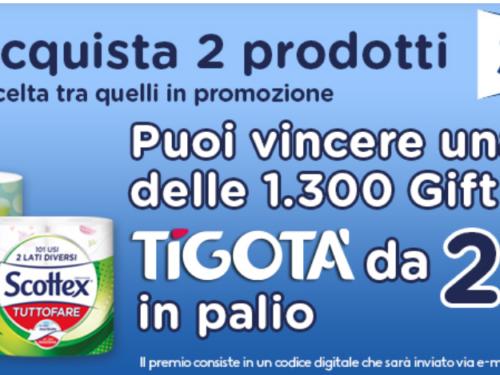 """""""SCOTTEX TI REGALA LE GIFT CARD TIGOTÀ"""" dal valore di 25€"""