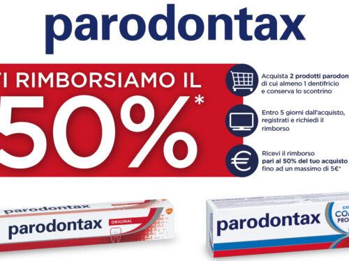 Parodontax acquista 2 prodotti e ricevi rimborso del 50%